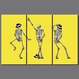 3 pcs pop rei michael jackson dança topper chapéu amarelo bone pictures crânio da lona pintura wall art sala de estar decoração sem moldura