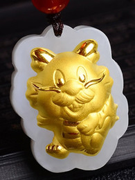 jade dragon gold pendant necklace Canada - Gold inlaid jade Chinese zodiac cartoon dragon talisman necklace and pendant