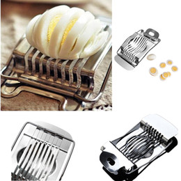 portable slicer Canada - Stainless Steel cut egg Boiled Egg Slicer Section Cutter Mushroom Tomato Cutter Kitchen Novelty Tool free shipping