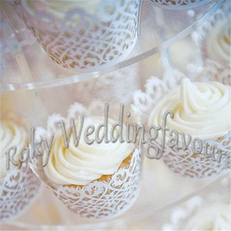 free shipping 120pcs white filigree cupcake wrappers laser cut cupcake for wedding bridal shower party cake decoration