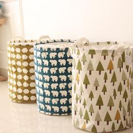 Washing Linen Clothes Canada - Waterproof Canvas Beam Laundry Basket Tree Bear Hedgehog Pattern Cotton Linen Washing Clothes Storage Basket TT213