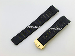 Dove Bands NZ - 22mm 24mm Top grade Black Diving Silicone Rubber Holes Watch Band Strap With Gold Deployment Clasp