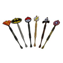 free batman stickers Canada - HOT Arrival Wax Dabber tool with Pokeball Batman Captain superhero Flash and Skull Design stickers wax jar Dab tool 120mm DHL Free