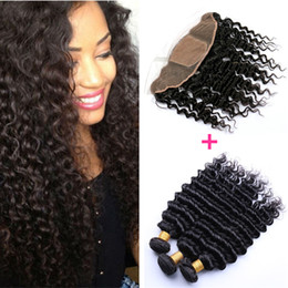 34 inches hair Australia - 8A Grade Brazilian Deep Wave Hair Bundles With Silk Base Frontal Brazilian Human Hair Weaves With Silk Base Frontal Closure 4Pcs Lot
