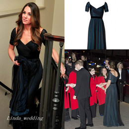China Jenny Packham Kate Middleton Navy Blue Evening Dress Short Sleeve Long Backless Formal Prom Party Gown cheap jenny packham long sleeve suppliers