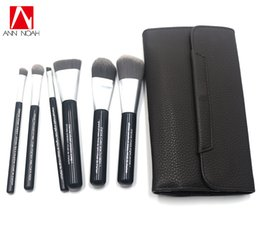 $enCountryForm.capitalKeyWord Australia - Professional Brand Quality Deluxe Charcoal Antibacterial Fiber 6pcs Makeup Brushes Set Cosmetic Tool Kit With Faux Leather Pouch