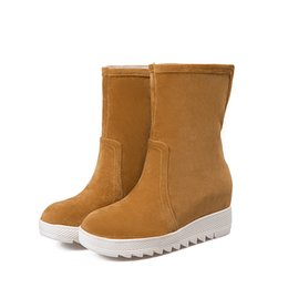 Chinese  Autumn and winter European station Korean version of the new increase in pure color warm in the barrel snow boots HUIHAO 167 manufacturers