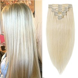 Natural Remy Clip On Hair Extensions Straight Top Grade Blond Russian 100g Set Full Head In