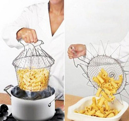 $enCountryForm.capitalKeyWord Canada - Foldable Steam Rinse Strain Fry Chef Basket Strainer Net Kitchen Cooking Tool Accessories Fried French Fries Food Tool