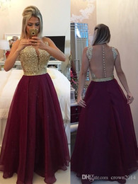Real Sexy Pictures Canada - Sexy Burgundy Prom Dresses 2019 Chiffon Lace Scoop Neck A-line Floor-Length Illusion Back Beaded Covered Buttons Evening Gowns Real Picture