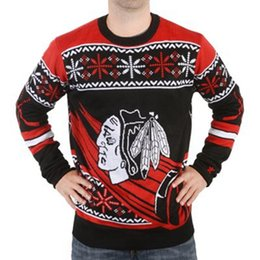Discount ice blocks - Wholesale-Chicago Blackhawks Thematic Crewneck Ugly Sweaters ice hockey Style Winter Pullovers Man Busy Block Ugly Sweat