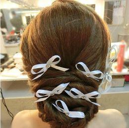 Flower Girl Rhinestone Hair Clips Australia - Sweet Ribbon Bowknot Hairpin Bridal Hair Accessories Women Engagement Crystal Hair Pins Clips Hair Jewelry for Girls Bridesmaid