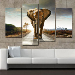 $enCountryForm.capitalKeyWord NZ - 4 Picture Combination Elephant HD Canvas Mural Impression Art Canvas Paintings Home Decoration Painting Prints Frameless