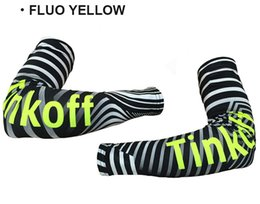 Discount cycling team arm warmers 2016 TINKOFF TEAM FLUO YELLOW T045 CYCLING ARM WARMER BICYCLE OVERSLEEVES SIZE:S-XXL