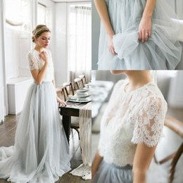 Barato Rendas Saia Corpete Longo-2016 Country Bohemian Bridesmaid Dresses Long Top Lace Manga Curta Illusion Bodice Tulle Skirt Maid Of Honor Wedding Guest Party Gowns