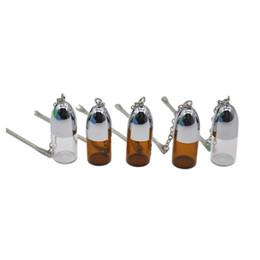 $enCountryForm.capitalKeyWord UK - Mini Small Size Silver Clear&Brown Glass Snuff Pill box Bottle Vial w  Metal Spoon Spice Bullet Rocket Snorter Case