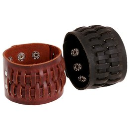 Outlet charms online shopping - Europe and the United States retro foreign trade jewelry factory outlets leather bracelet punk bracelet original leather bracelet