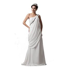 $enCountryForm.capitalKeyWord UK - Luxury Design One Shoulder Beach Wedding Dress Floor Length Beaded Ivory Chiffon Dress For Bride Free Shipping