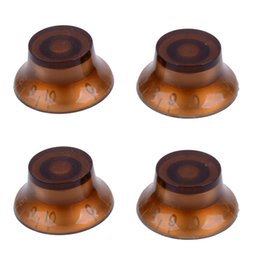 Wholesale Material For Hats NZ - 4Pcs Coffee Top Hat Speed Control platic material Transparent hand guitar knobs For Electric Guitar MU0744-14
