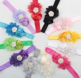 Rosette baby kids online shopping - 12 Color Baby Headbands Chiffon Flowers Girls Rhinestone Hair Wearing Kids satin rosette Hairbands Children boutique hair accessories KHA294