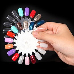 Barato Tabelas De Exibição Uv-Dicas falsas Display Nail Art Acrílico 18 cores Pratique UV Gel Nail Polish Circle Wheel Board DIY Nail Tool