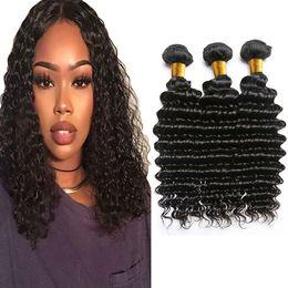 $enCountryForm.capitalKeyWord NZ - Brazilian Deep Wave Virgin Hair Weaves 100% Unprocessed Human Hair Extensions 3 Bundles Brazilian Human Hair Weave Bundles Natural Color