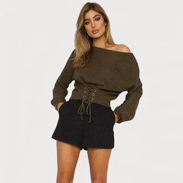 Chandail Tricoté Punk Pas Cher-5 Couleurs Femmes Crop Tricots À Manches Longues Slash Neck Lace-Up Surdimensionné Chandail Punk Style Knit Blouse Top Printemps Automne Clubwear DZG0903