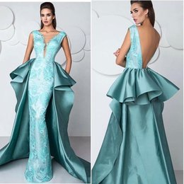 $enCountryForm.capitalKeyWord Canada - 2018 Elegant Overskirt Train Formal Celebrity Evening Dresses With V Neck Backless Floor Long Mint Lace Prom Occasion Gowns Custom Made