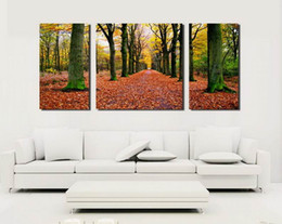 Contemporary Canvas art floral online shopping - Contemporary Landscape Fallen Leaves In Forest Giclee Print On Canvas Wall Art Home Decor Set30306