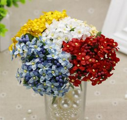 miniatures flowers wholesale NZ - Wholesale Artificial Small Flowers Weddings Party Decoration Miniature Silk Flowers Scrapbooking Flower (144pcs lot) Free Shipping