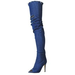 986ff33aaa91 Kolnoo Womens Handmade Fashion Boots High Heel Peep-toe Long Thigh-high  Boots Sumer Party Prom Large Size Boots Shoes XD724