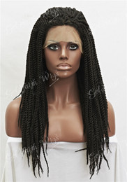 kanekalon lace wigs NZ - Synthetic Braiding Hair Wig Dark Brown Full Kanekalon Braided Lace Front wigs For Black Women, Braid Wig for Africa American