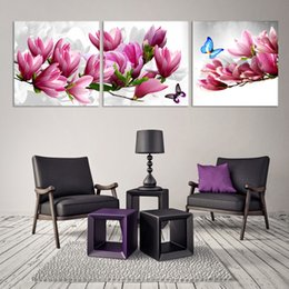 $enCountryForm.capitalKeyWord Canada - 3 panles Modern Wall Painting pink orchid flower Home Decorative Art Picture Paint on Canvas Prints (no frame )