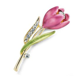 China Wholesale Hot Elegant Tulip Flower Brooch Pin Crystal Costume Jewelry Clothes Accessories Jewelry Brooches For Wedding supplier planting tulip flowers suppliers
