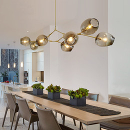 Chinese  Lindsey Adelman globe glass pendant lamp Branching Bubble Modern Chandelier Light for kitchen cafe cloth shop 3 5 7 8 9 11 13 15 heads manufacturers