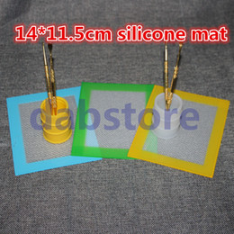 silicon rubber mat 2021 - 2016 Wholesale Silicone wax pads dry herb mats 14cm*11.5cm square baking mat dabber sheets jars dab tool for silicon con