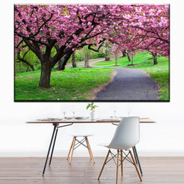 $enCountryForm.capitalKeyWord Australia - ZZ1693 beautiful japanese cherry blossom tree scenery canvas oil art painting wall pictures for livingroom bedroom decoration