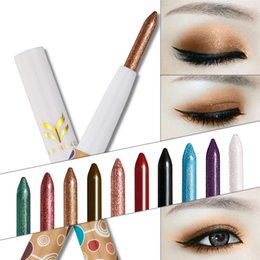 Stylo Éclatant Pas Cher-HUAMIANLI Shimmer Matte Eye Liner Ombre à paupières Pencil Maquillage Eyeliner Cosmetic Pen Highlighter Glitter Make Up Stick 10 Couleurs