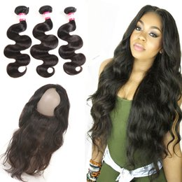 8179f1ac7 8A Indian Hair 360 Full Lace Frontal with Baby Hair and 3 Bundles Body Wave  Hair Weaves Grace Pre Plucked 360 Frontal Closure