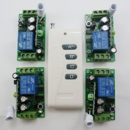 rf wireless remote control system Canada - 1PCS Wireless Remote Relay RF Control Switch System 4PCS Receivers 433MHZ DC12V