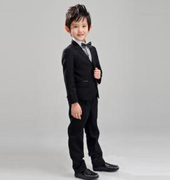Barato Terno De Casamento Coreia-New Boy Classic Black Suit Children Thickened Korea Boys Casamento Suit Tuxedo Boys 'Formal Ocasião Suit (jaqueta + calça + Bowtie)