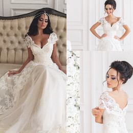 Robes Blanches À Manches Longues Pas Cher-Hot Selling White Deep V Neck Lace Long Robes de mariée Tulle Cap Sleeves A Line Floor Longueur Robe de mariée