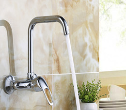 brass wall NZ - Bathroom Brass Kitchen Sink Faucet Hot Cold Wall Mounted Mixer Chrome Single Handle Tap