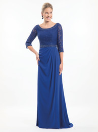 simple black stunning evening gowns UK - Stunning Royal Blue Mother of the bride dresses lace top with beaded neckline 3 4 sleeves pleated skirt with sweep train EVENING GOWNS