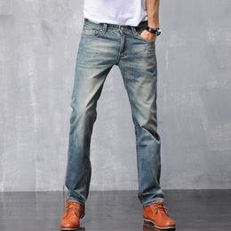 Men scratch jeans online shopping - Male new pure cotton denim straight pants retro vintage fashion simple suitable slim fit casual jeans trousers for men size