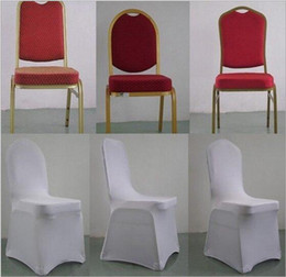 spandex universal chair covers wholesale NZ - 50 PCS Universal Stretch Polyester Spandex Wedding Party Chair Covers for Weddings Banquet Hotel Decoration Decor