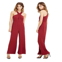 Barato Europa Por Atacado Bodycon-Atacado- XXL Sexy Loose Solid Color Jumpsuits Rompers Mulheres Jumpsuit verão 2016 New Europe Fashion Halter Full Bodycon Jumpsuits