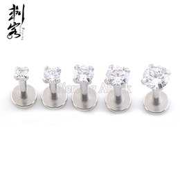 Chinese  16G Surgical Steel Triple Forward Helix Internally Threaded Prong Set CZ with Flat Bottom Labret lots of 10pcs manufacturers