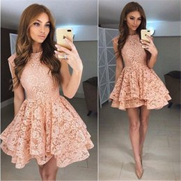 Barato Vestidos Chiques E Chiques-Chic Layered Lace Pink Homecoming Vestidos 2018 Modern Sleeve Jewel Neck A Line Mini Cocktail Gowns Short Party Wears Dress