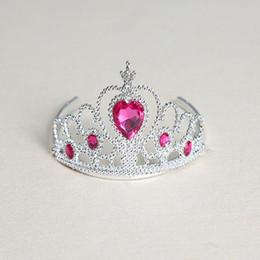 $enCountryForm.capitalKeyWord Canada - 5 Piece Chidlren Girl Plastic Imitation Diamond Frozen Crown 7 Colors Imitated Crystal Hair Clip Headband Princess